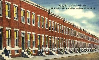 White Steps - Baltimore, Maryland MD Postcard