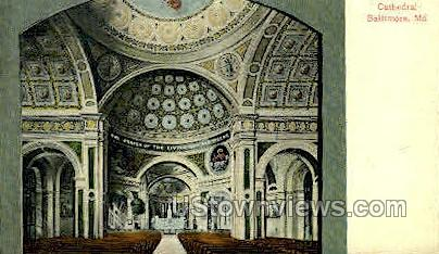 Interior, The Cathedral - Baltimore, Maryland MD Postcard