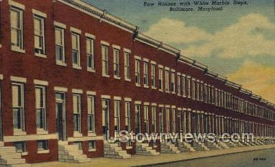 Row Houses with White Steps - Baltimore, Maryland MD Postcard