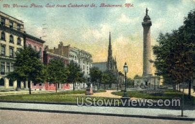 Mt Vernon Place, Cathedral St - Baltimore, Maryland MD Postcard