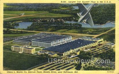 Glenn L Martin Co Aircraft Plant - Baltimore, Maryland MD Postcard