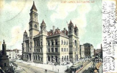 Post Office - Baltimore, Maryland MD Postcard
