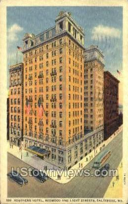 Southern Hotel - Baltimore, Maryland MD Postcard