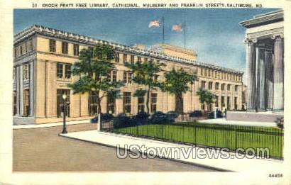 Enoch Pratt Free Library, Cathedral - Baltimore, Maryland MD Postcard