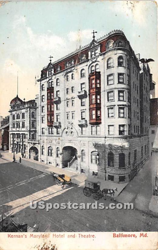 Kernman's Maryland Hotel & Theatre - Baltimore Postcard
