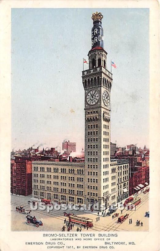 Bromo Seltzer Tower Building - Baltimore, Maryland MD Postcard