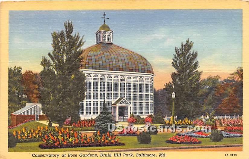 Conservatory, Rose Gardens, Druid Hill Park - Baltimore, Maryland MD Postcard
