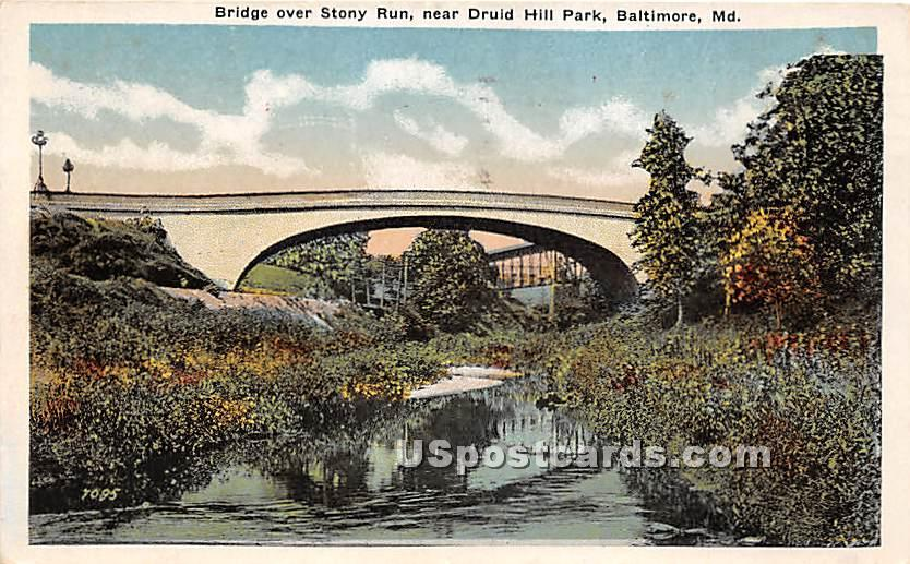 Bridge, Stony Run, Druid Hill Park - Baltimore, Maryland MD Postcard