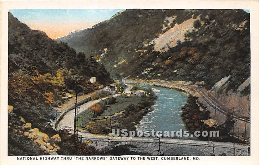 National Highway Thru the Narrows - Cumberland, Maryland MD Postcard