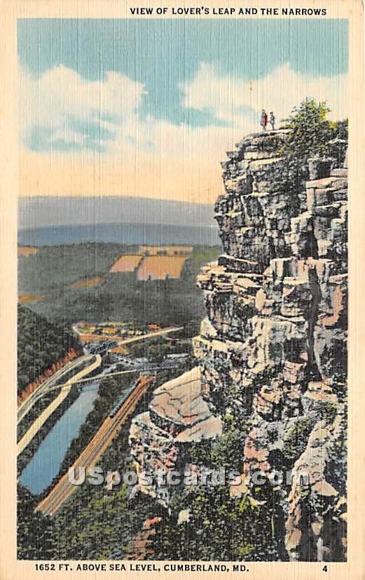 Lover's Leap, Narrows - Cumberland, Maryland MD Postcard