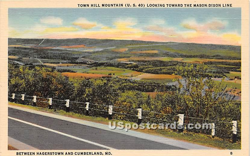 Town Hill Mountain - Cumberland, Maryland MD Postcard