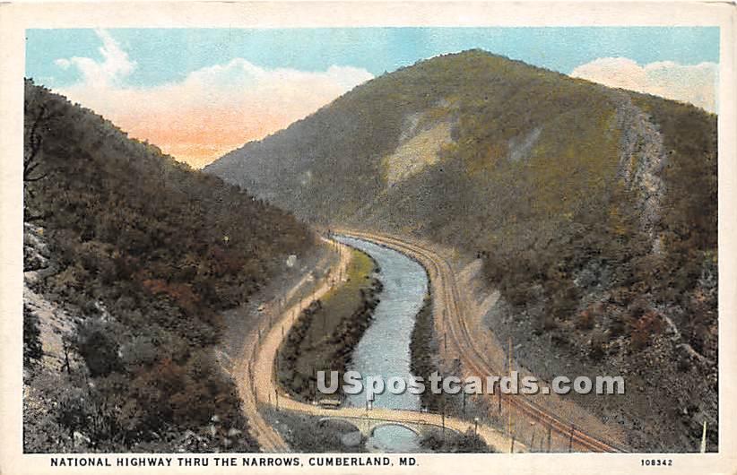 National Highway Thru the Narrows - Cumberland, Maryland MD Postcard