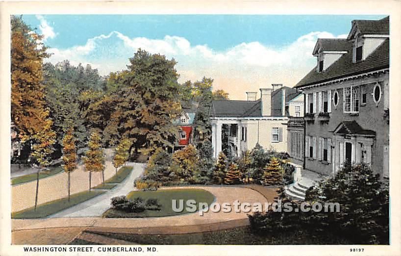 Washington Street - Cumberland, Maryland MD Postcard