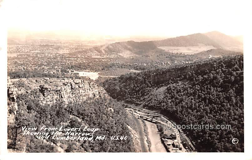 View from Lovers Leap - Cumberland, Maryland MD Postcard