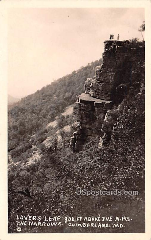 Lover's Leap - Cumberland, Maryland MD Postcard