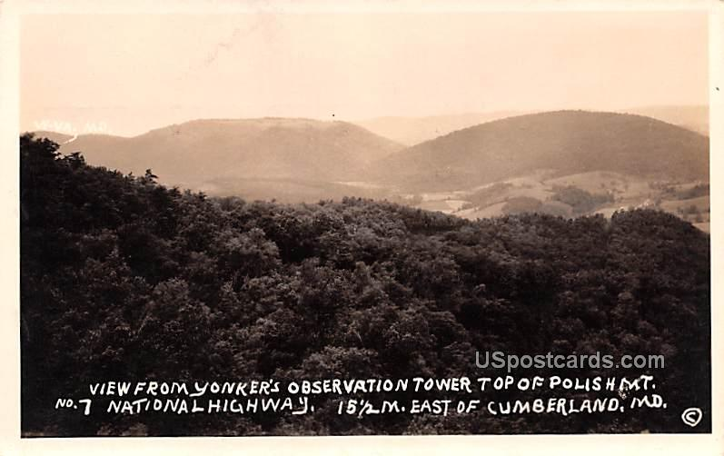 From Yonker's Observation Tower - Cumberland, Maryland MD Postcard