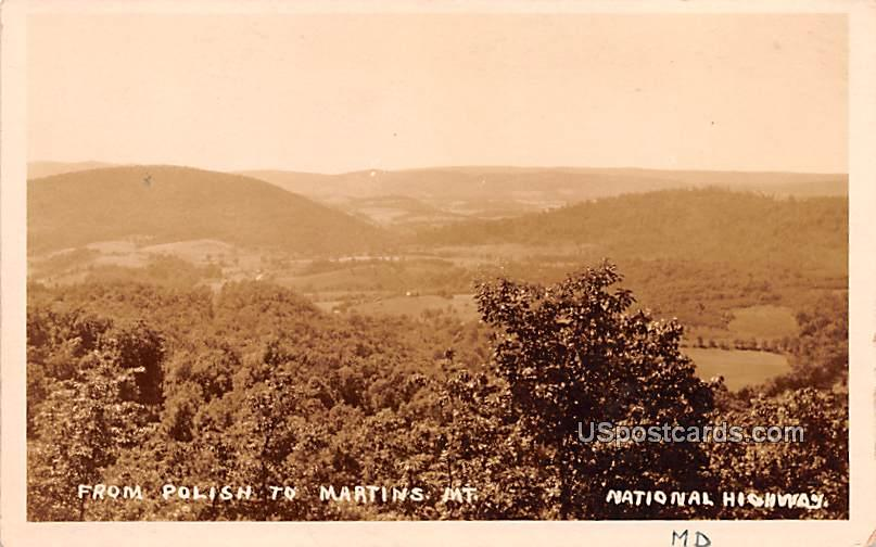 From Polish to Martins Mountains - Cumberland, Maryland MD Postcard