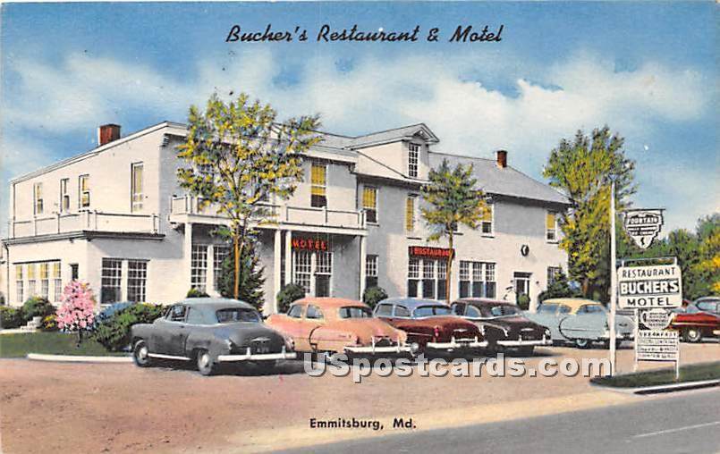 Bucher's Restaurant & Motel - Emmitsburg, Maryland MD Postcard