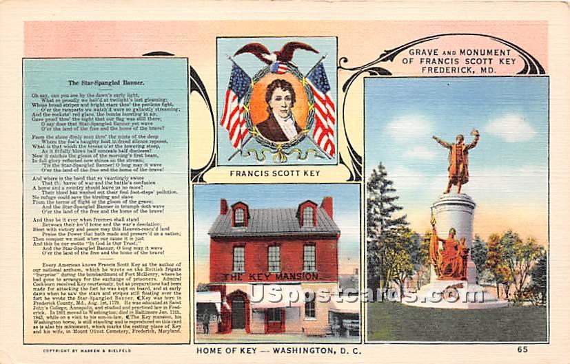 Francis Scott Key - Frederick, Maryland MD Postcard