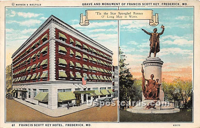 Grave & Monument of Francis Scott Ket - Frederick, Maryland MD Postcard