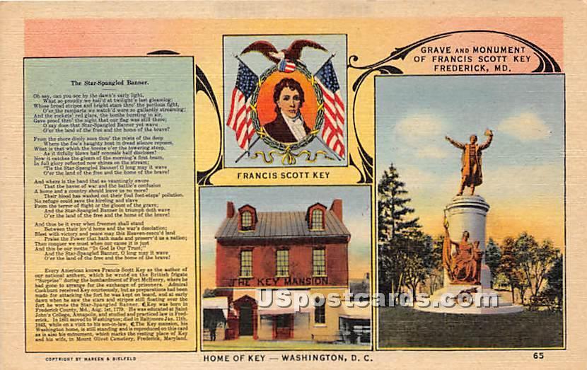 Francis Scott Key, Home of Key, Grave & Monument - Frederick, Maryland MD Postcard