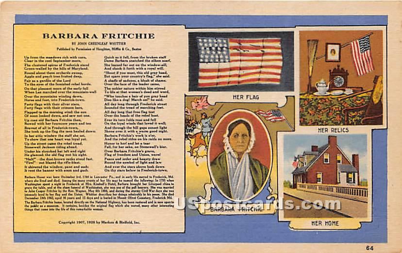 Barbara Fritchie, Her Flag, Home - Frederick, Maryland MD Postcard