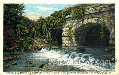 Old Bridge over Braddock Run - Cumberland, Maryland MD Postcard
