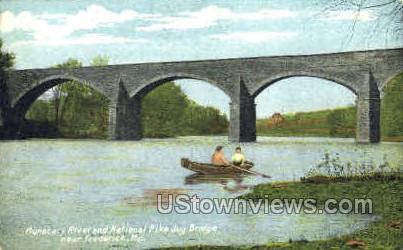 River & National Pike Jug Bridge - Frederick, Maryland MD Postcard
