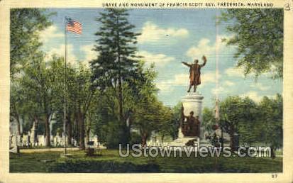 Monument Francis Scott Key - Frederick, Maryland MD Postcard
