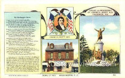 Monument of Francis Scott Key - Frederick, Maryland MD Postcard