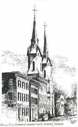 Evangelical Lutheran Church - Frederick, Maryland MD Postcard