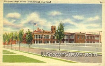 Allegheny High School - Cumberland, Maryland MD Postcard