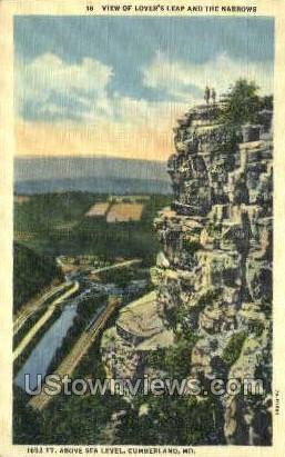 Lovers Leap - Cumberland, Maryland MD Postcard