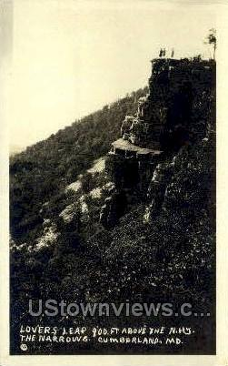 Real Photo - Lovers Leap - Cumberland, Maryland MD Postcard