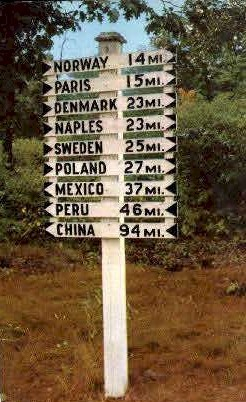 Signpost In Maine - Portland Postcard