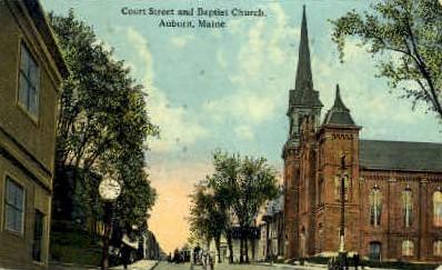 Baptist Church & Court St. - Auburn, Maine ME Postcard