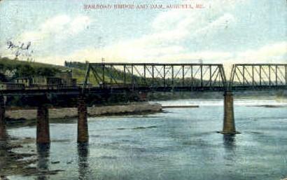 Railroad Bridge & Dam - Augusta, Maine ME Postcard