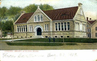 Lithgow Library - Augusta, Maine ME Postcard