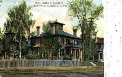 Hon. James G. Blaine's Residence - Augusta, Maine ME Postcard