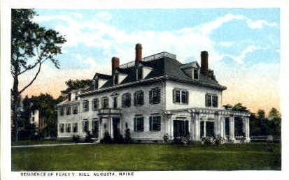 Residence of Percy V. Hill - Augusta, Maine ME Postcard