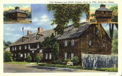 Fort Western & Block Houses - Augusta, Maine ME Postcard