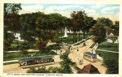State Grove & Western Ave. - Augusta, Maine ME Postcard