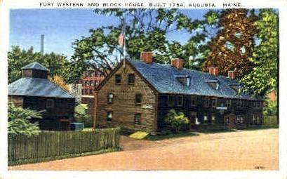 Fort Western & Block House - Augusta, Maine ME Postcard