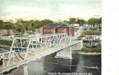 Kennebec Bridge & City Hall - Augusta, Maine ME Postcard