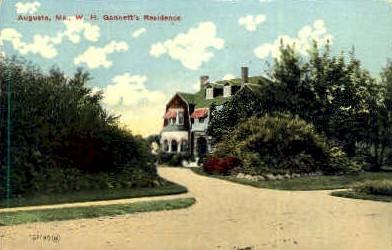 W. H. Gannett's Residence - Augusta, Maine ME Postcard
