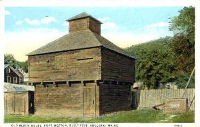 Old Block House, Fort Weston - Augusta, Maine ME Postcard
