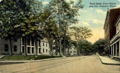 State St. & Court House - Augusta, Maine ME Postcard