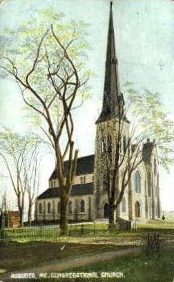Congregational Church - Augusta, Maine ME Postcard