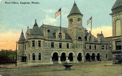 Post Office - Augusta, Maine ME Postcard