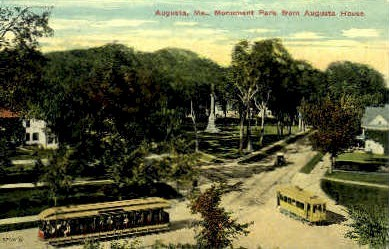Monument Park - Augusta, Maine ME Postcard